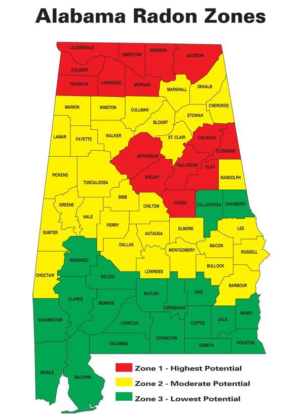Radon In Alabama Alabama Department Of Public Health Adph - Radon-map-us