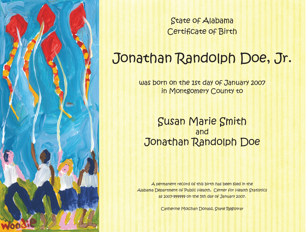 Keepsake Birth Certificate Designs Alabama Department Of Public